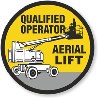 Qualified Operator Aerial Lift Hard Hat Decals
