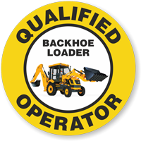 Qualified Operator Backhoe Loader Hard Hat Decals