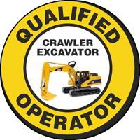 Qualified Operator Crawler Excavator Hard Hat Decals
