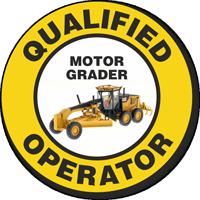Qualified Operator Motor Grader Hard Hat Decals