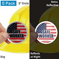 Safe Worker With US Flag Hard Hat Label