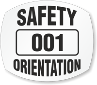 Safety Orientation Choose Numbering Hard Hat Decals