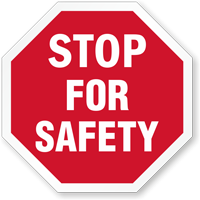 Stop For Safety Hard Hat Decals