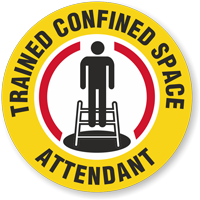 Trained Confined Space Attendant Hard Hat Decals