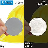 White Retro Reflective Hard Hat Label