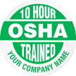 10 Hour OSHA Trained Company Name Custom Hard Hat Decal