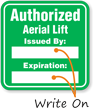Authorized Forklift Lift Write-On Hard Hat Decals