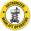 Authorized Manlift Operator Hard Hat Decals