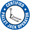 Certified Pallet Jack Operator Hard Hat Decals