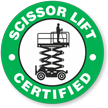 Certified Scissor Lift Hard Hat Decals
