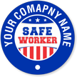 Circular Text Around Flag and Safe Worker