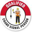 Qualified Crane Signal Person Hard Hat Decals