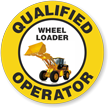 Qualified Operator Wheel Loader Hard Hat Decals
