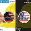 Safe Worker With US Flag Hard Hat Label