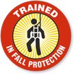 Trained In Fall Protection Hard Hat Decals