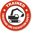 Trained Trenching And Excavation Safety Hard Hat Decals
