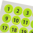 Consecutively Numbered Reflective Dots 1-64