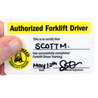 Self Laminating Forklift Certification Wallet Card