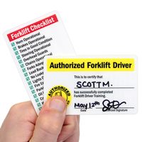 2-Sided Authorized Forklift Certification Wallet Card