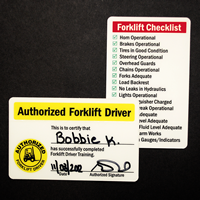 Double-Sided Forklift Certification Card