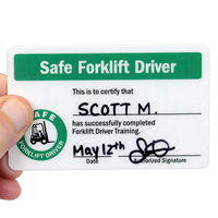 Self Laminating Forklift 2-Sided Wallet Card