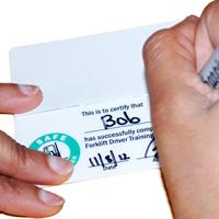 2-Sided Self Laminating Forklift Wallet Cards
