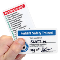 Double-Sided Forklift Safety Trained Self Laminating Wallet Card