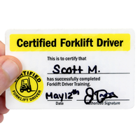 Certified Forklift Driver,Wallet Card
