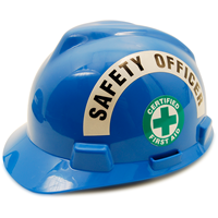 Apply title sticker over a standard safety committee emblem