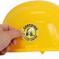 Certified Forklift Driver Hard Hat Labels