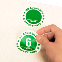 No Accidents 6 Years Hard Hat Stickers