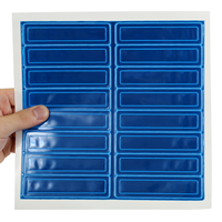 Sheet of blue reflective hard hat stickers