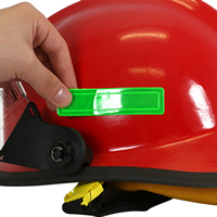 Apply stickers to both sides of a helmet or hard hat