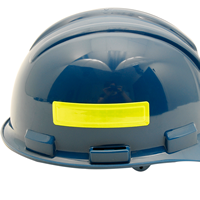 Yellow reflective strips on a hard hat - put one on each side