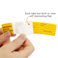 Emegency contact sticker with a protective self-laminating flap