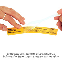 Clear laminate protects your emergency information and sticker from sweat and abrasion