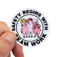 Safety Begins With Team Work Hard Hat Labels
