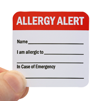 writeable Allergy Alert Hard Hat Decal