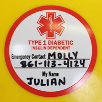 Medical Alert Type 1 Diabetic Hard Hat Decals