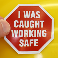 I Was Caught Working Safe decal