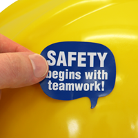 Safety Begins With Teamwork Hard Hat Decals