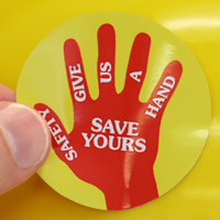 Safety Give Us A Hand Decal
