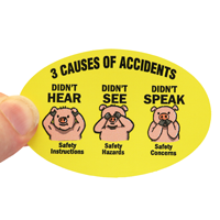 3 Causes Of Accidents Hard Hat Decals