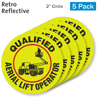 Qualified Aerial Lift Operator Hard Hat Label