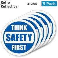 Think Safety First Hard Hat Label