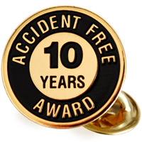 Accident Free Award 10 Years Pin